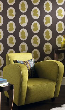 Lime green, brown, and a hint of blue- love it! White or cream would make a nice accent.