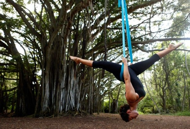 5 Reasons to Give Aerial Yoga a Go  1. Bring the passion back!  2. Improve your proprioception and balance. 3. Embrace natural movement. 4. Suspension is relaxation amplified. 5. Aerial Yoga is really fun!