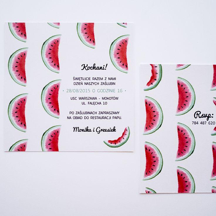 Funny and colorful wedding invitations with fruity pattern - watermelon! Radosne zaproszenia ślubne z arbuzowym motywem.