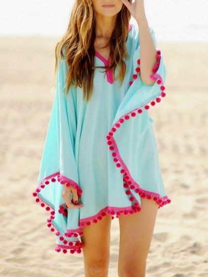 #pink #pompom #blue #poncho #beach #Paupau ;)