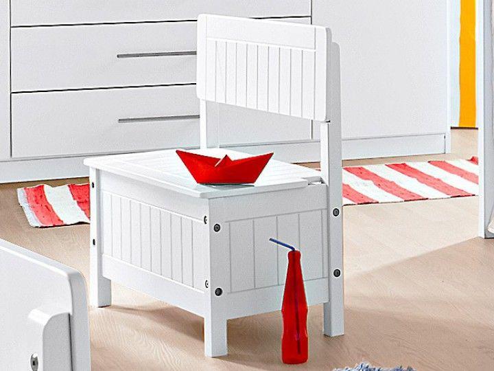 Kinder-Truhenbank weiß Holz weiß 055000038 (BHT 57x59x29 cm)