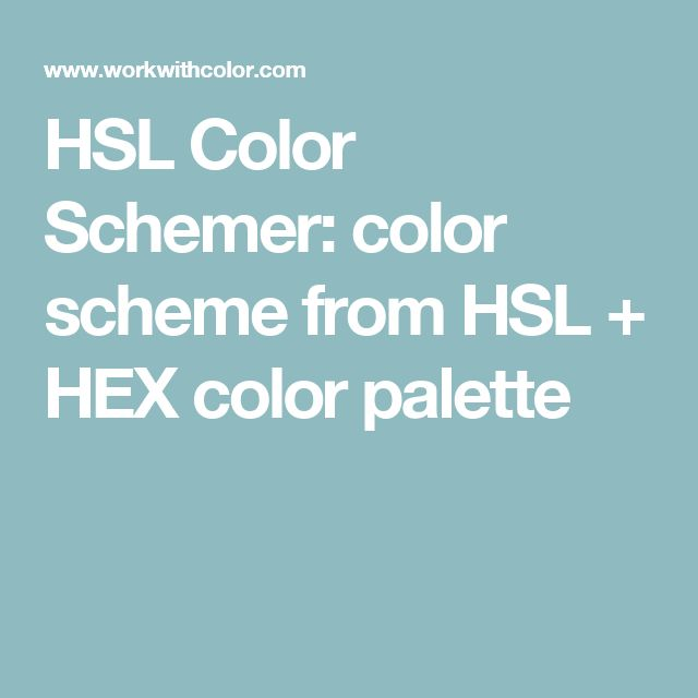 HSL Color Schemer: color scheme from HSL + HEX color palette