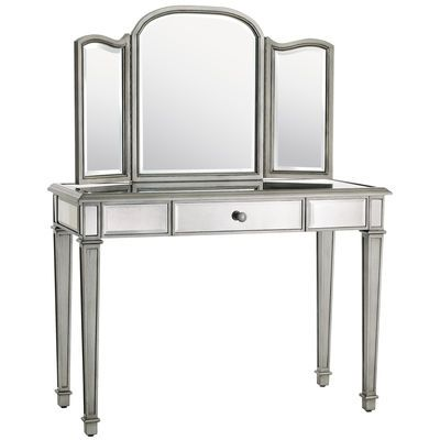 "Hayworth - Mirror Vanity: 42""W x 18""D x 31""H  Mixed woods, mirrored glass  Exclusively Pier 1 Imports  Sold separately"