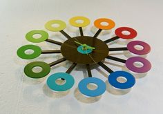Made from discarded platters of hard drives, Rainbow Clock meets Trash Made's motto: New life for old electrical appliances.