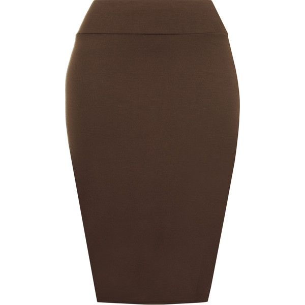 Tonya Basic Bodycon Pencil Skirt ($9.96) ❤ liked on Polyvore featuring skirts, bottoms, dark brown, high-waisted midi skirts, bodycon pencil skirt, high waist knee length pencil skirt, bodycon skirt and high-waisted skirts