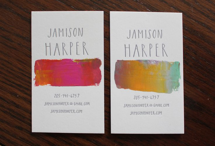 hand lettering watercolor business card design
