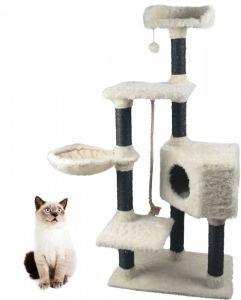Kloremøbel til katt, hvit og svart, 139cm høy