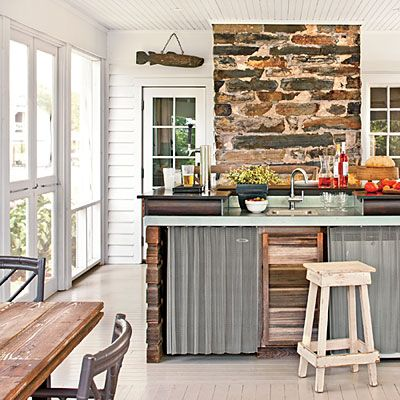 Porch Breezeway   Farmhouse Remodel   Southern Living . . . Metal Curtains  By Cascade Coil