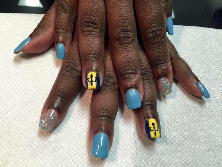 Barbados Flag Nails
