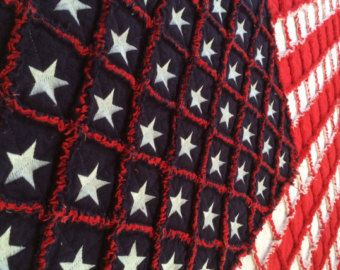 American Flag Rag Quilt by LoveToSew4You on Etsy