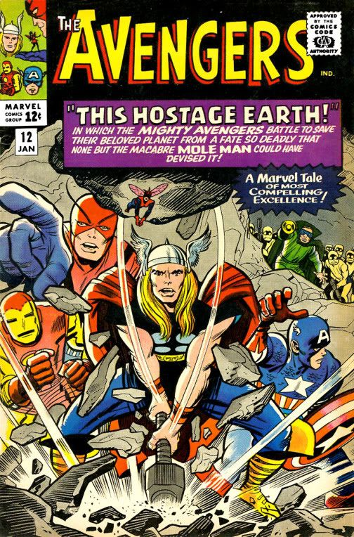 """Avengers #12 """"A Marvel tale of most compelling excellence."""" Art, Jack Kirby Auction your comics on www.comicbazaar.co.uk"""