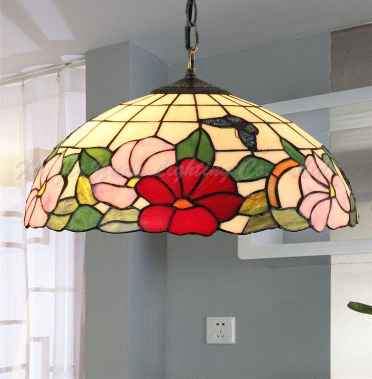 Toll Tiffany Stained Glass Chandelier Lotus Restaurant Wedding Room Decoration  Retro Art Glass Tiffany Lamp