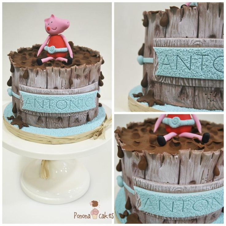 Peppa Pig in a muddy swimming pool by Ponona Cakes - Elena Ballesteros