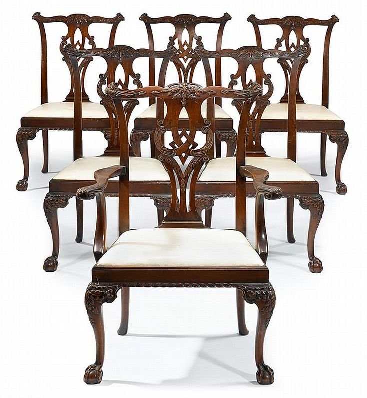 Set of six George III style mahogany dining chairs, early 20th century,  Comprising five. Chippendale ... - 15 Best Antique Chippendale Chairs And Sofa Images On Pinterest