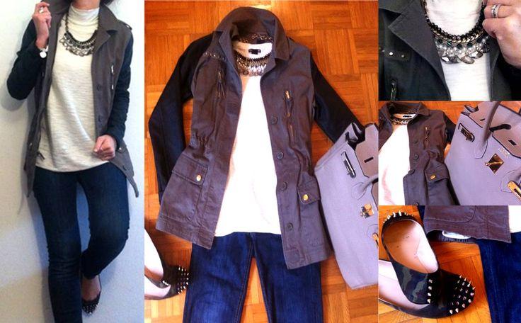 http://laruedelafortune.blogspot.it/p/i-miei-outfit.html bimaterial jacket, outfit, stud shoe, scarpe borchie, statement necklace, hermes, giacca militare, fashion, moda, abbinare