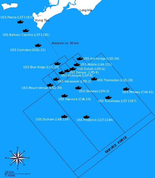 Location of US Navy ships in the South China Sea during Operation Frequent Wind Photo Credit