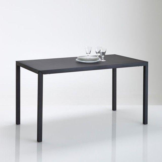 Hiba Dining Table In Matt Black Metal Seats 4 Metal Dining