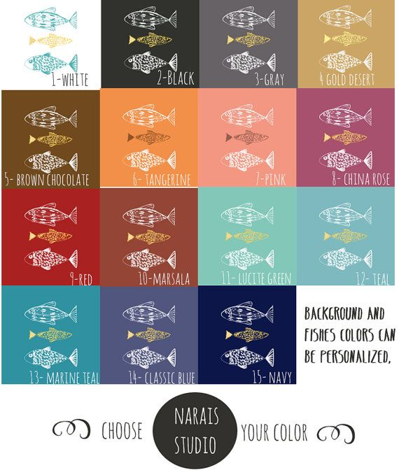 Nautical Duvet Cover Fishes Personalized Twin Double by Narais