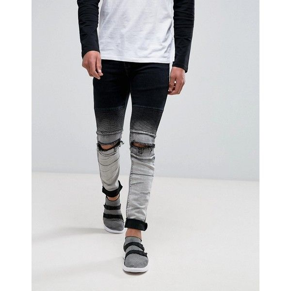 Sixth June Skinny Jeans In Dip Dye With Knee Rips ($71) ❤ liked on Polyvore featuring men's fashion, men's clothing, men's jeans, black, mens skinny jeans, mens biker jeans, mens ripped jeans, mens torn jeans and mens skinny biker jeans