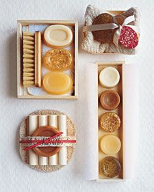 DIY~ Give pantry soaps as a gift this Christmas with a craft from Martha Stewart. Glycerin, honey, ginger, cinnamon, ground cloves, oatmeal and chamomile tea