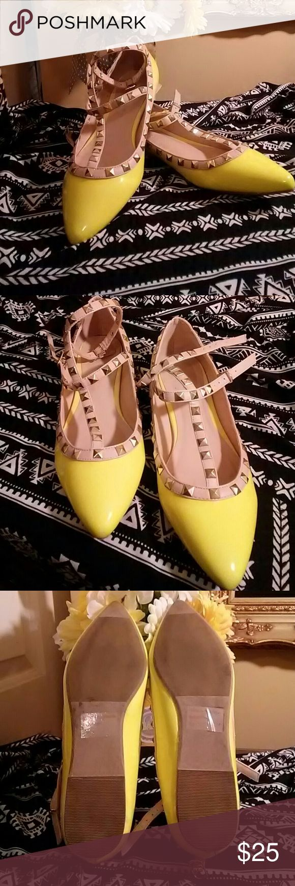 Yellow Neon Flats Flats with studs around it , they were worn once only they are in great condition. Size 8 diva Shoes Flats & Loafers