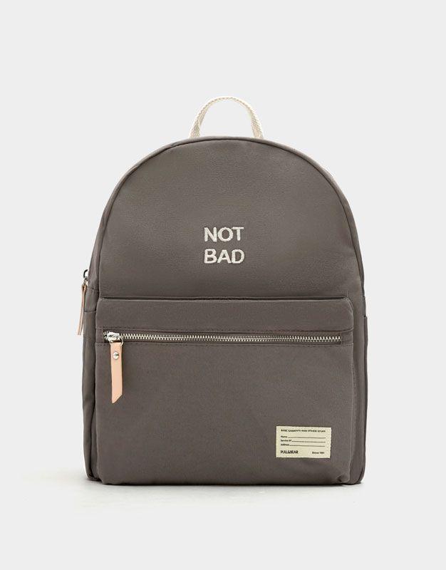6b5a397208645 Mały ciemnoszary plecak z materiału z napisem - Torebki - Dodatki - Dla  Niej - PULL BEAR