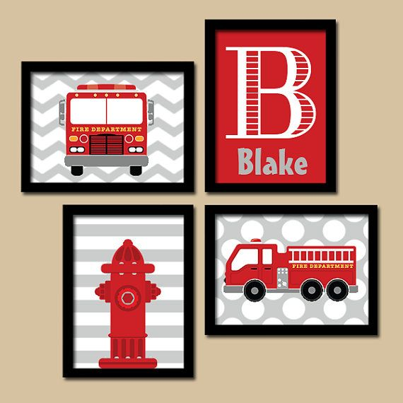 FIRE TRUCK Wall Art, CANVAS or Prints Boy Child Name Hydrant Fire Truck Theme Dream Big Little One Pattern Set of 4 Baby Boy Bedroom Nursery