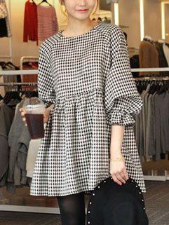 Korean Style Vintage Women Loose-fitting Houndstooth Print Cute Dress