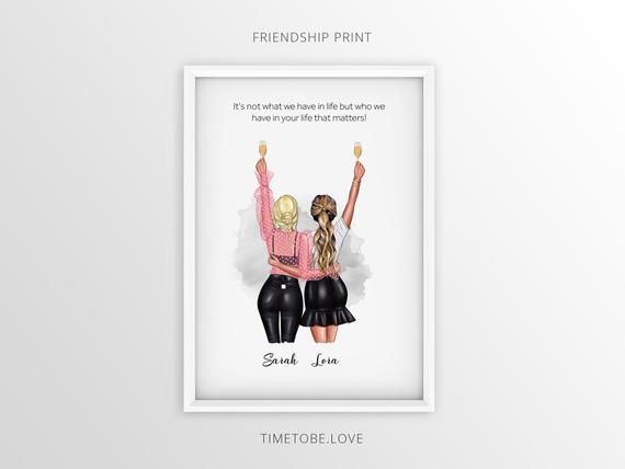 Skin Customize Hair Personalised Gift for Best friend Clothes Keepsake Friendship Print Gift for Bestie or Soul Sister
