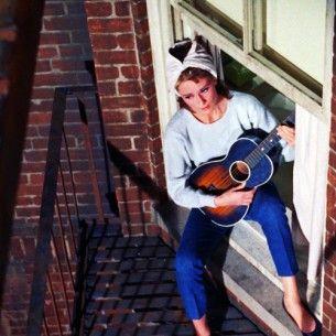 Breakfast in Tiffany: Film, Huckleberry Friends, Inspiration, Breakfast At Tiffany'S, Breakfast At Tiffanys, Audrey Hepburn Guitar, Hepburn Singing, Movie, Audrey Hepburn Moon Rivers