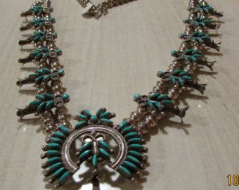 Reserved for Paula Montes Sterling Silver and Needlepoint Turquoise Zuni Squash Blossom Necklace E. Weeka