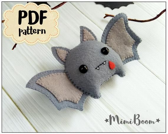 Felt Halloween bat ornament Halloween Pattern bat DIY felt ornament Halloween Tutorial plushies Halloween pattern bat Halloween Felt sewing