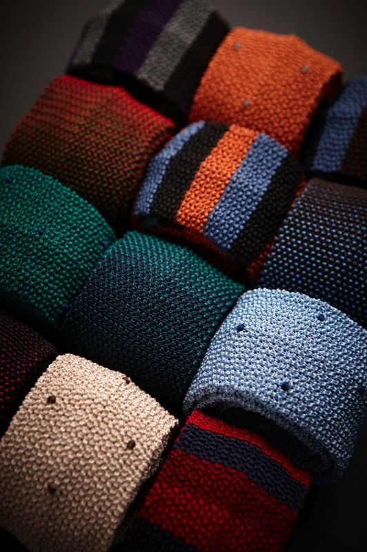 Knitted ties - The textured design will add an off-beat touch to neat tailoring or can be used to elevate an Oxford shirt and sweater to new heights!