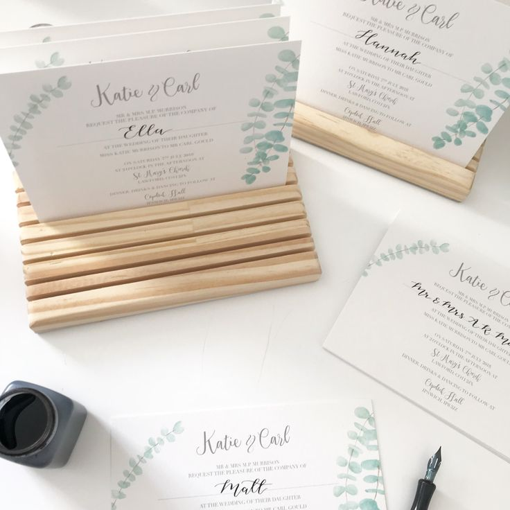 how to put guest names on wedding invitations%0A IN PRODUCTION  adding the calligraphy personalised names to these  Eucalyptus wedding invitations  Love my