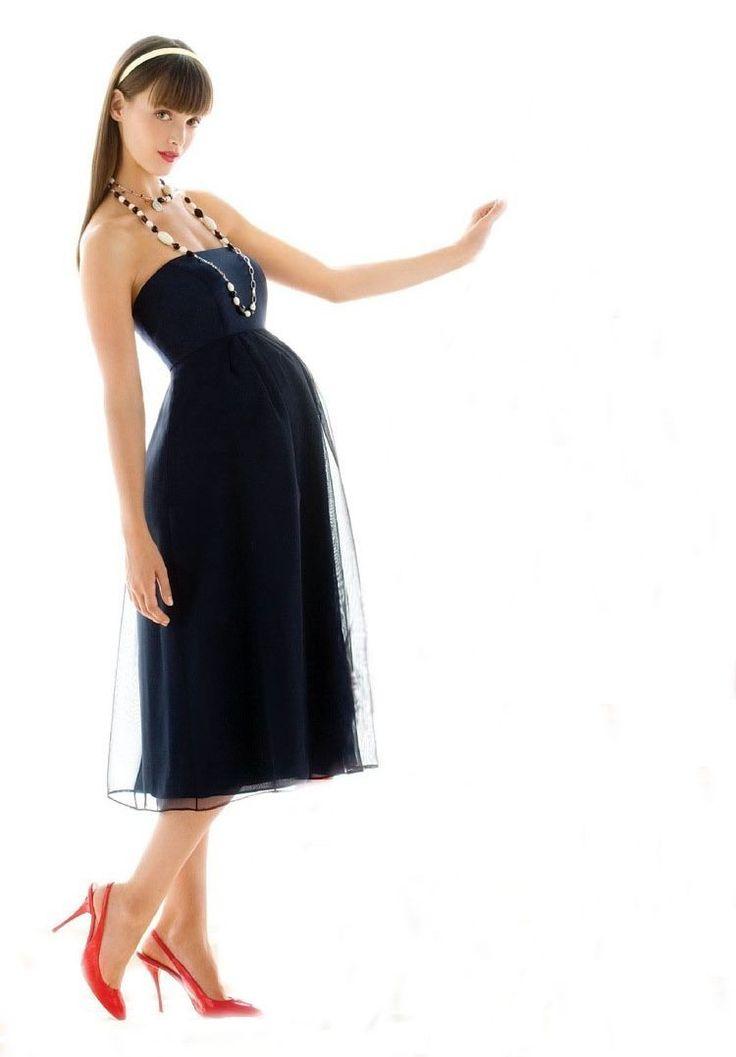Satin Strapless Empire A Line Tea Length Maternity Bridesmaid Dress