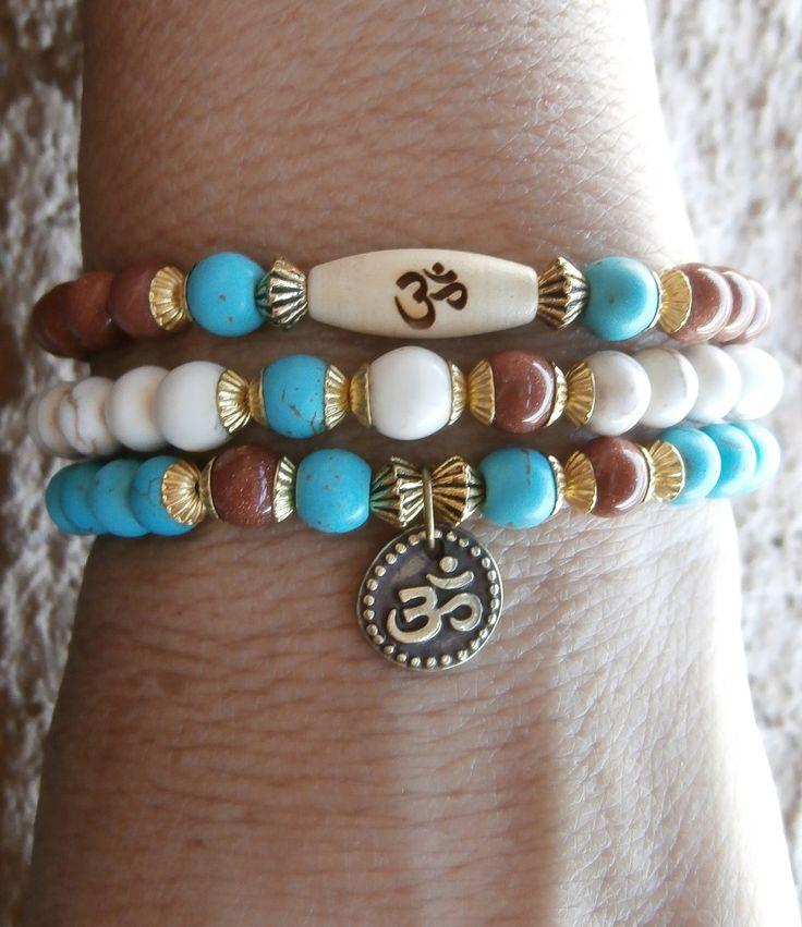 Knowledge & Confidence set of 3 Yoga bracelets, Om and engraved Om wood bead, Howlite, Goldsone. Meditation, Reiki Charged, free shipping. $27.00, via Etsy.