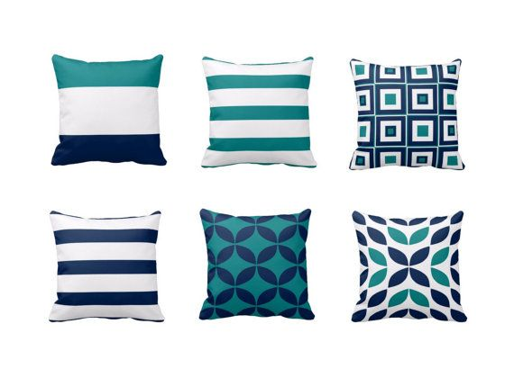 Throw Pillow Covers Geometric Home Decor Teal Navy White Pillow Typography Art Contemporary Decor Throw Pillow Covers