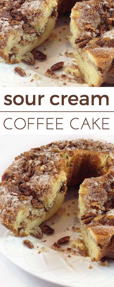 Sour-cream Coffee Cake. A dense, delicious pecan coffee cake with excellent flavor. A wonderful treat for breakfast or brunch.