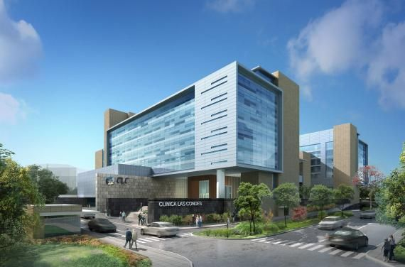 The 6-story hospital bed tower expansion project at Clínica Las Condes, in Santiago, Chile, will provide a new main entrance, 292 beds, and a surgical platform. Credit: RTKL Associates