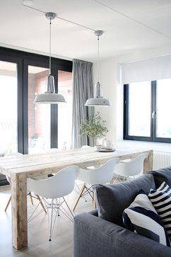 i love everything about this dining room, raw wood table, eames, and pendants