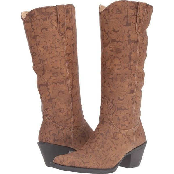 Roper Kristin (Tan Faux Leather Embossed) Cowboy Boots (810 MXN) ❤ liked on Polyvore featuring shoes, boots, knee-high boots, tan, roper boots, knee high cowboy boots, vegan boots, tan knee high boots and western boots shoes