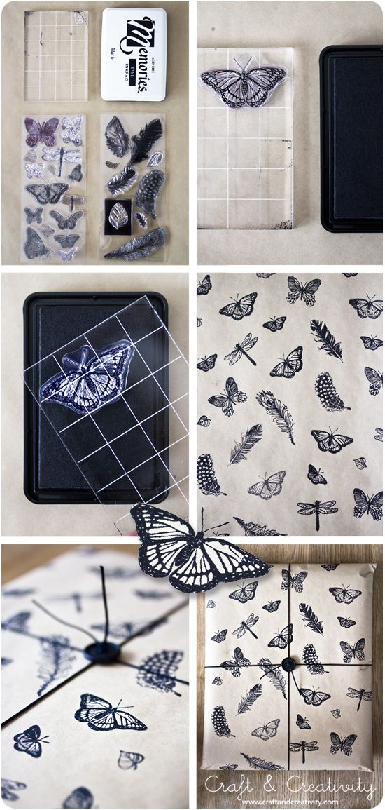 Stamped gift wrapping paper