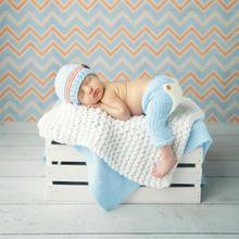 Dítě Novorozence fotografie rekvizity Bižuterie ruční háčkování pletené Infant Beanie klobouk a kalhoty pro Boy Girl 0-3 měsíce (Čína (pevninská část))