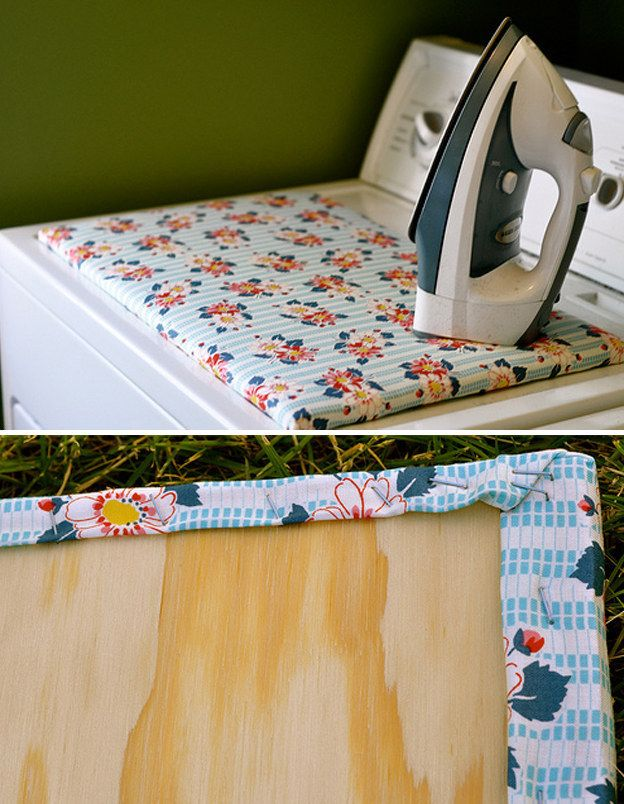 If your room is too small for an ironing board, make a DIY version that fits on top of the dryer. | 29 Brilliant Ways To Organize Your Laundry Room