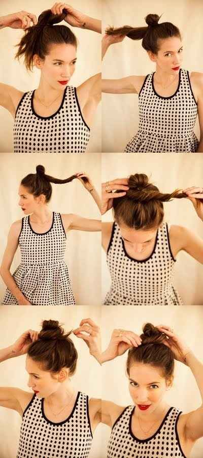 With a bit of damp hair and product, a twisty, messy bun can actually create messy (in a good way) locks the day after.