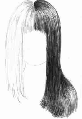 Drawing of Long Straight Hair Half Black Half Blonde