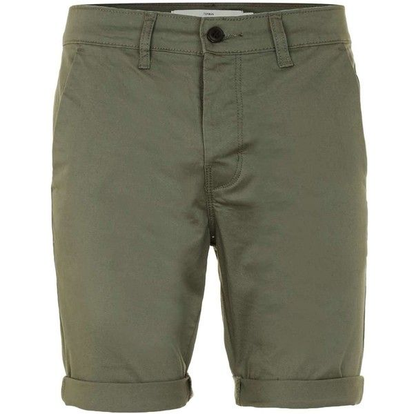 TOPMAN Khaki Chino Shorts ($29) ❤ liked on Polyvore featuring men's fashion, men's clothing, men's shorts, khaki, mens khaki shorts and mens chino shorts