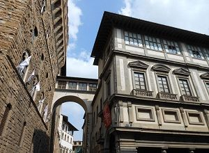 The Uffizi Gallery is a prominent art museum located adjacent to the Piazza della Signoria.