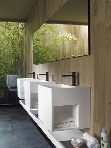 Clean & Pure designs thanks to KRION Solid Surface for new washbasins and bathroom units of Ras collection