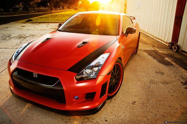 Matte red Nissan GTR